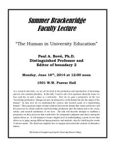 Brackenridge Faculty Lecture Poster - Paul Bové
